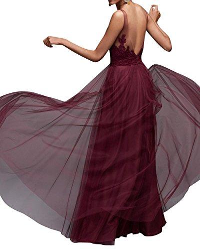 A Tuell Brautjungfernkleider Brau Lang Abendkleider Ausschnitt Spitze La mia V Linie Rot Ballkleider Dunkel Partykleider Damen qREwS0C