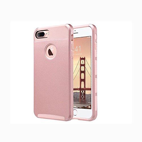 Iphone 7 PLUS Coque, IPhone 7plus Coque Housse Étui hybride Armure Couche 2 en TPU + PC Anti-Chocs dur Coque pour Iphone 7 plus (Or Rose)