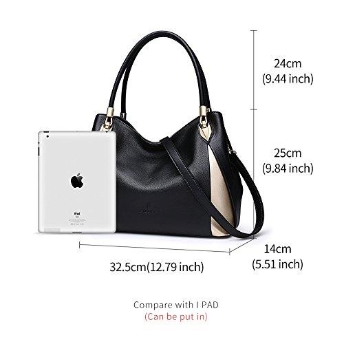 Satchel Genuine Black4 Bag Purse Women Handbag Top Leather Handle FOXER Tote Shoulder 58aPqc