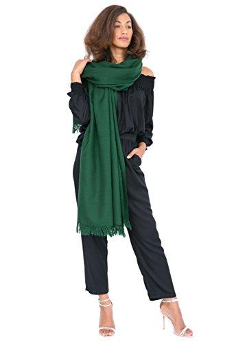 (likemary Merino Wool Wrap Shawl & Blanket Scarf Oversize Fairtrade Pashmina Kasa Green 100 x)