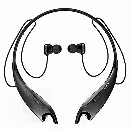 Mpow Jaws Upgraded Gen-3 Bluetooth Headphones, Wireless Neckband Headphones 13H Playtime, Bluetooth Headset W/Call Vibrate & CVC 6.0 Noise Cancelling Mic, Bluetooth Earbuds Magnetic, Black