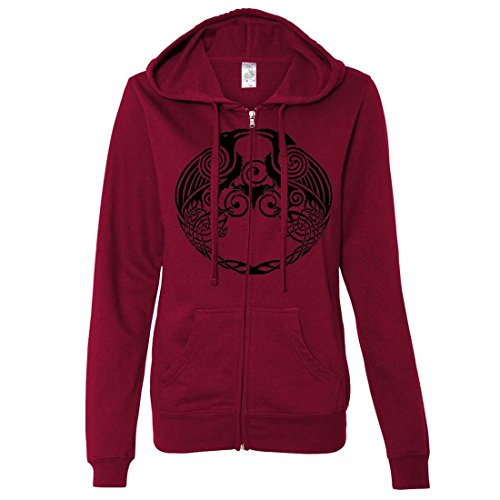 Dual Raven Ladies Fitted Zip-Up Hoodie - Brick Red Medium (What Does Red Roses Represent)