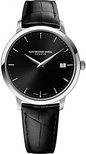 Raymond Weil Men's 'Toccata' Swiss Quartz Stainless Steel and Leather Automatic Watch, Color:Black (Model: 5488-STC-20001) by Raymond Weil