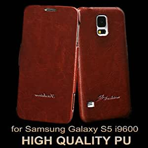 Vintage Flip[ Style PU leather Case For Samsung Galaxy S5 i9600 With FASHION Logo Phone Bag Muti Colors Drop Ship --- Color:red