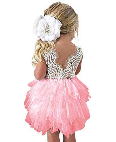 lymanchi Toddler Baby Lace Back Tiered Tutu Tulle Backless Flower Girls Dress Pink 130cm