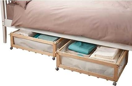 Tela y madera de cajones con ruedas debajo de la cama - Set de 2