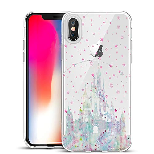 (Unov Case Clear with Design Slim Protective Soft TPU Bumper Embossed Pattern [Support Wireless Charging] Cover for iPhone Xs Max 6.5 Inch(Watercolor Castle) )