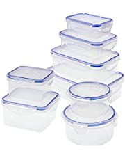 Food Storage Containers with Lids Airtight, Plastic Food Container Set, SIKITUT Airtight Storage Containers(8 Pack) for Home, Kitchen, Leak Proof, BPA-Free