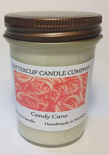 - Handmade Strongly Scented CANDY CANE 8 Ounce Soy Container Candle Buttercup Candle Company