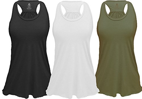 Epic MMA Gear Flowy Racerback Tank Top, Regular and Plus Sizes Pack of 3 (S, Black/White/Army)