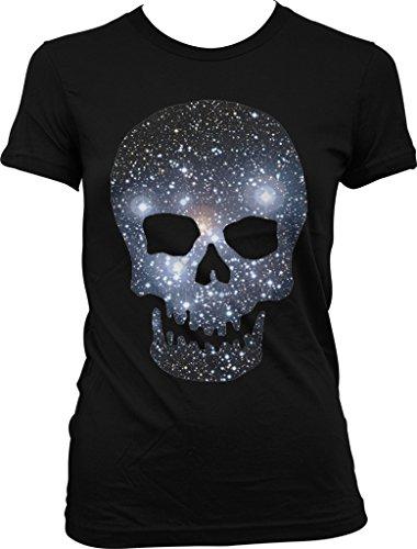 Galaxy Pattern Skull, Space Skull Juniors T-shirt, NOFO Clothing Co. S Black ()