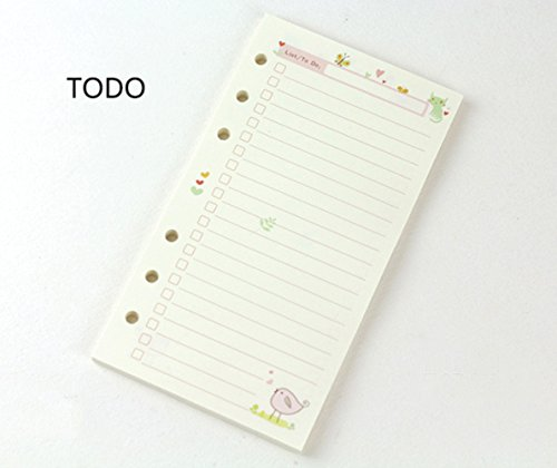 A5 Refill Paper Colorful Cartoon Paper 6 Hole A5 Day Week Month Plan Todo Plan Dotted Ruled Blank Grid 6-Ring Binder Planner Refill Paper Filofax Journals Notebooks Diaries Inserts (A5, to DO)