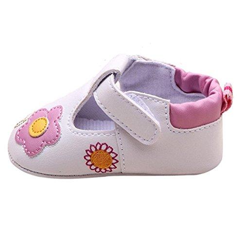 Baby Schuhe Auxma Für 5-14 Monate Baby-Mädchen-nette warme weiche alleinige Krippe-Schuh-warme Knopf-Ebenen-Baumwollblumen-gedruckter Stiefel (8-11 M)