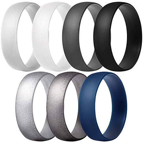 ThunderFit Silicone Rings Wedding Bands for Men & Women 6mm