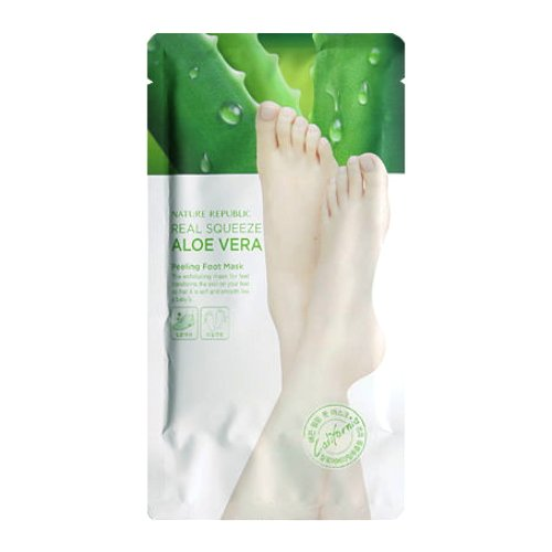 (6 Pack) NATURE REPUBLIC Real Squeeze Aloe Vera Peeling Foot Mask