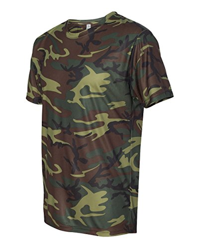 Code Five Men's 3983 Performance Camo Tee Woodland Camouflage Realtree Short Sleeve T-Shirt (X-Large, Green Woodland)