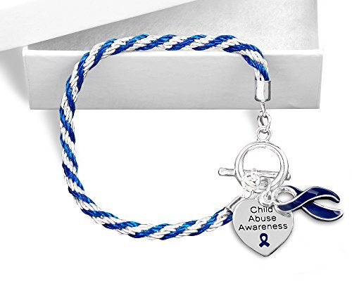 Fundraising For A Cause Child Abuse Dark Blue Ribbon Rope Bracelet in a Gift Box (1 Bracelet - Retail) Child Abuse Blue Ribbons