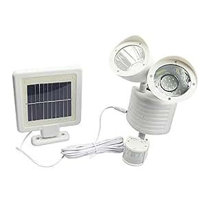 Aesy 22 LED Solar Light Dual Head PIR Motion Sensor Garden Yard Wall Spot Light Security Lamp