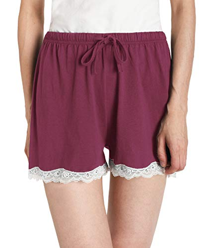 - Latuza Women's Cotton Solid Boxer Shorts Lace Hem Pajamas Shorts XL Wine Red