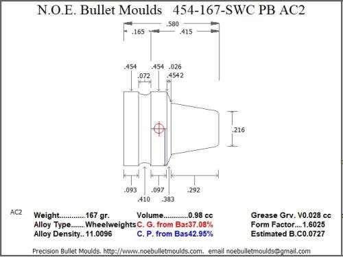 Bullet Mold 2 Cavity Aluminum .454 Caliber Plain Base 167gr Bullet with a Semiwadcutter Profile Type. This Mould Casts t