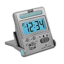 Marathon Basics Simple Travel Alarm Clock. Easy to use, Easy to Set. - Battery Included (Titanium) CL030010TI
