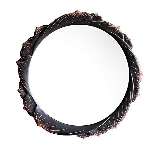 YHMT Round Wall-Mounted Mirrors, Vintage Resin Frame Lotus Mirror, Makeup Vanity/Bathroom/Bedroom Creative -