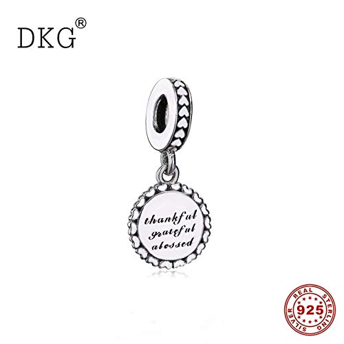 Calvas Authentic 925 Sterling Silver Thankful Grateful Blessed Bead Charms for Fashion Jewelry Making -
