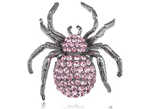 Purple Alloy Silver Crystal Rhinestone Widow Spider Animal Pin Brooch Halloween | Parttern - Style-6]()