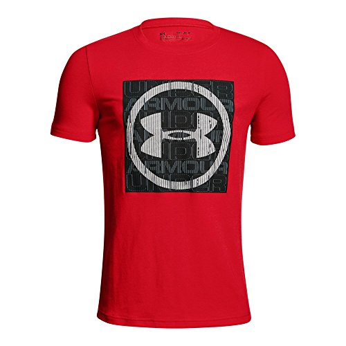 Under Armour Boys' Visualogo T-Shirt, Red/Black, Youth Medium