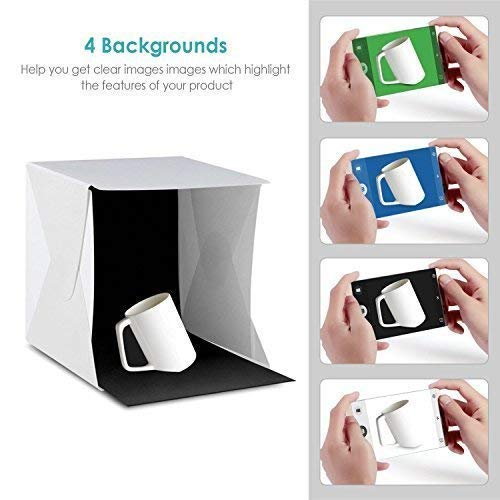 Amzdeal 12in Photo Studio Box Foldable Photo Light Box Professional Photo Booth Box with LED Light 4 Colors Backdrops by amzdeal