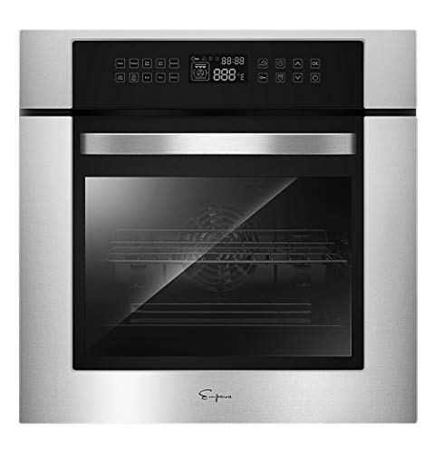 Empava 24XWOC02 24 Inch Electric Convection Single Wall Oven 10 Cooking Functions Deluxe 360° ROTISSERIE with Sensitive Touch Control in Stainless Steel, C02