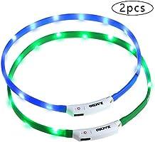 Zacro leuchthalsband Hund 2 Stück hundehalsband Leuchtend USB Wiederaufladbares und Längenverstellbareres Hunde Halsband...
