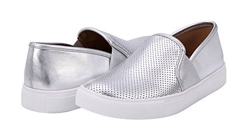 Classic Fashion Loafers Silver on Casual Women's Sofree Slip Sneakers UxaTFcq