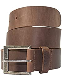 Men's Rustic Thick Leather Belt Handmade by Hide & Drink :: Bourbon Brown