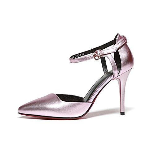 Chaussures Talons Cheville Sandales Hauts à De Bureau En Dames Talons Pink Hauts à Femmes Bride Travail De Sandales Pointues Cuir à Creux La Pompes tXvxq4Iw