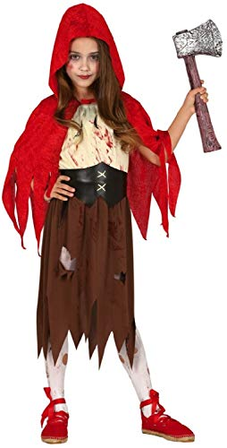 Girls Creepy Horror Scary Evil Red Riding Hood Bloody Halloween Fancy Dress Costume Outfit 5-12 Years (7-9 Years) -