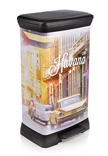 Curver Mülleimer mit Tretpedal | Abfalleimer mit einer Füllmenge von 50 L | Das stylische Havana Design verschafft Ihrer Küche ein kubanisches Flair | Der integrierte Geruchsschutz verhindert das Austreten unangenehmer Gerüche