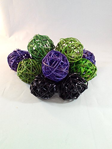 Decorative Spheres Purple Green and Black Rattan Ball Vase Filler Ornament Decoration Bowl Filler Halloween Decor By Wreaths For Door ()