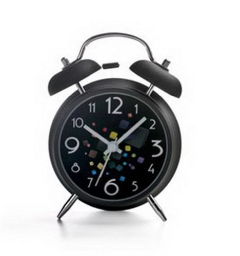 PANDA SUPERSTORE Alarm Clock With Nightlight And Loud Alarm (Black)