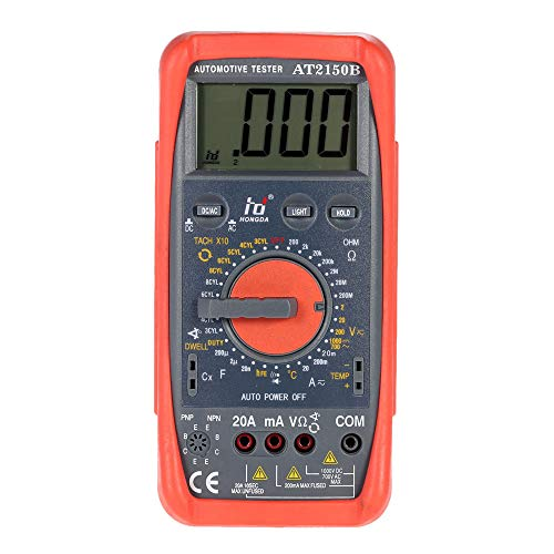 (JIANGJIE Digital Multimeter Automotive Meter Tester Tachometer Cap Temp Tester Sensor w/LCD Backlight)