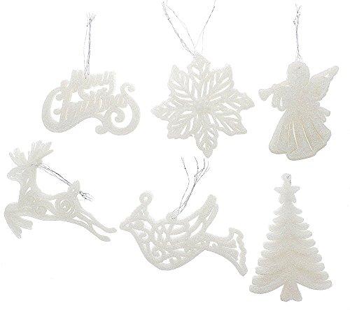 Large Angel Ornament - Elegant Fancy Shatterproof Sparkling Shimmering Christmas Glitter Holiday Variety Shaped Ornaments (Bird, Poinsettia, Tree, Angel, Merry Christmas & Deer) , White, Medium, 6 Pack, 4