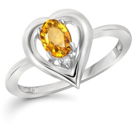 JewelersClub 0.46 Carat T.G.W. Citrine Gemstone and White Diamond Accent (Citrine Accents)
