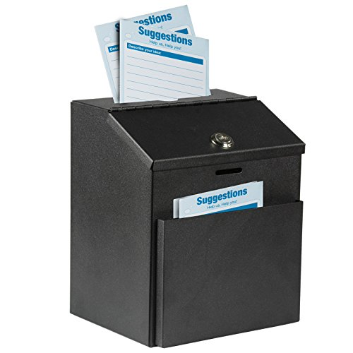 Adir Wall Mountable Steel Suggestion Box with Lock - Donation Box - Collection Box - Ballot Box - Key Drop Box (Black) with 25 Free Suggestion Cards -