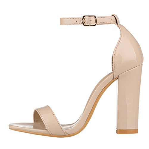 5f448b034e0 ZriEy Women s Chunky Block Strappy High Heel Pump Sandals Fashion Ankle  Strap Open Toe Shoes delicate