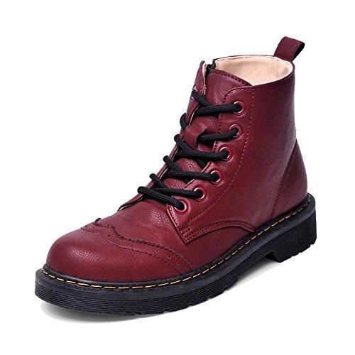 tobillo talón plano 37 RED caliente mujeres piel cremallera botas zapatos Side de Casual Martin Las 40 corto cordones 4qwOFY