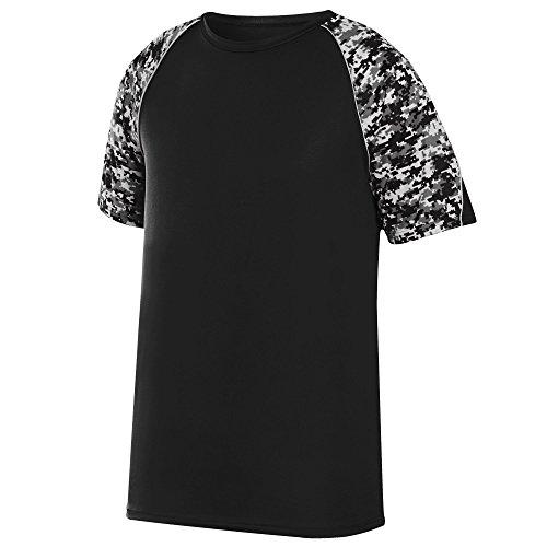 Augusta Sportswear Men's Color Block Digi Camo Jersey, Black/Black Digi/Silver, Medium