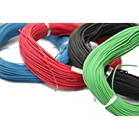 Electronicspices Combo of Red 10 m, Green 10 m, Blue 10 m and Black 10 m Electric wire , Model Building Tools for Working Models, DIY Science Experiment Kit