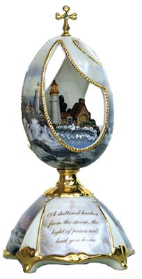 Thomas Kinkade Lighthouse Conquering The Storm Musical Egg