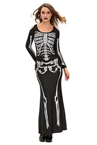 [Roswear Women's Long Dress Full Sleeves Adult Halloween Skeleton Costume Black Small] (Haloween Adult Costumes)