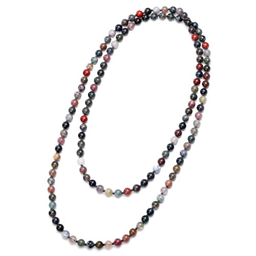 - Natural Indian Agate Stones Endless Necklace Long Beaded Handmade Knotted Jewelry for Women